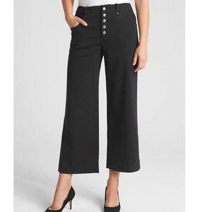 NWT Gap High Rise Crop Wide Leg Pants 8 Black v603